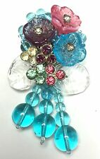 Miriam Haskell Pink & Aqua Poured Glass Flower & Rhinestone Dangle Fur Clip