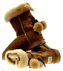 BNWT Sydney Rams Women's Pom Pom Short Ugg Boots Genuine Leather CHESTNUT