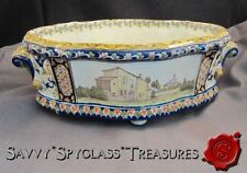 Antique French Faience Rouen Oval Planter Joan of Arc Orleans Maison Home