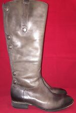 Arturo Chiang Boots Gray Leather Riding Boot w Button Detail Size 9 M