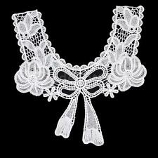 White Lace Embroidered Bow Neckline Neck Collar Sewing Craft Applique Trim