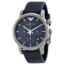 Armani Classic Chronograph Navy Dial Navy Leather Strap Mens Watch AR1736