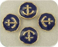 2 Hole Beads Sailboat/Boat ANCHOR Nautical Gold with Navy Enamel ~ Sliders QTY 4