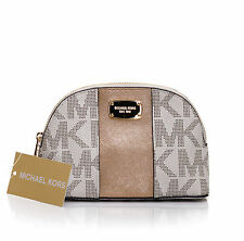 Michael Kors Met Center Stripe Vanilla-Gold Travel Pouch Portemonnaie Geldbörse