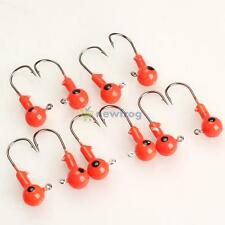 SN9F 10Pcs Red Lead Round Jig Head Fishing Lures Bait Hook Fish Tackle 5g 35mm