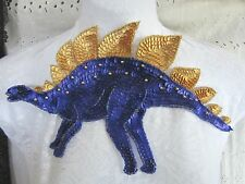"11"" Bead & Sequin ** DINOSAUR - STEGOSAURUS ** Applique - PURPLE & GOLD"