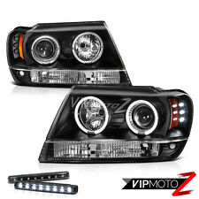 LED LIGHT BAR KIT   Jeep Grand Cherokee 99-04 Black Projector Headlight Halo