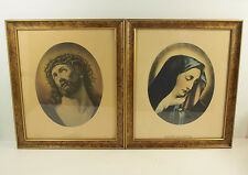 Pair Vintage Framed Pictures Religious Catholic Jesus Ecce Homo Mater Dolorosa