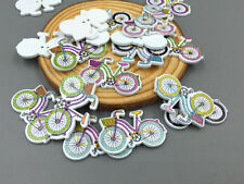 50X Mixed Color Bicycles Sewing Wooden Buttons Scrapbooking Crafts Decorations