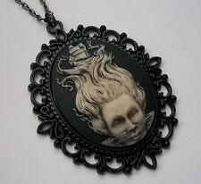 NEW Hand Painted MERMAID Steampunk CAMEO NECKLACE Pirate Nautical Fantasy