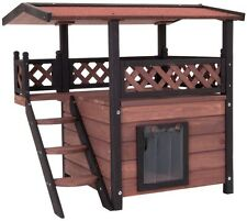 Brown Cat Dog Pet House Outdoor Wooden Kennel Cave Condo Slat Veranda Stair New