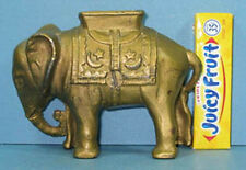 "AUTHENTIC OLD CAST IRON SMALLEST ELEPHANT BANK W/ HOWDAH 3"" HI *ON SALE*  T243"