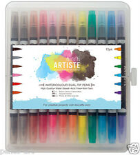 Docrafts Artiste water based dual tip brush & fine marker Pen set of 12 pens