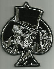 "MR. DEATH SKULL SPADE TOP HAT BIKER Morale MILITARY PATCH -5"" X 4"" Hook Backing"