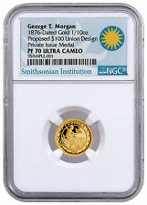 2016 Private Issue 1/10 oz Gold George Morgan 1876 $100 Union Ngc Pf70 Sku44333