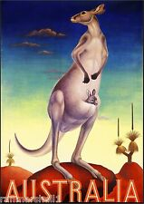 Australia Kangaroo Mother and Baby Vintage Travel Art Poster Advertisement