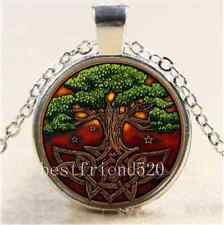 New Tree of Life Photo Cabochon Glass Tibet Silver Chain Pendant Necklace