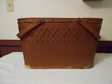 VINTAGE LARGE PICNIC BASKET  MADE BY QUALITY RED MAN BASKETS MADE IN U.S.A.