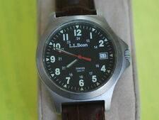 Nice L.L.Bean Stainless Steel Men's Military Style Watch w/Date & Black Dial