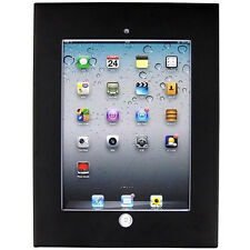 NERO ANTI THEFT Secure Enclosure CASE Montaggio A Parete Armadietto APPLE IPAD 2 3 4 Air