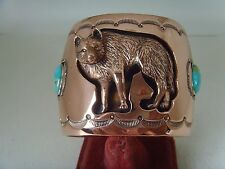 Wolf Shadow Box Copper Bracelet With Turquoise By Running Bear R.B Navajo