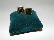 Cufflinks Gold tone Black Enamel square in a square BLING design NEW
