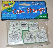 NEW LEARNING RESOURCES TAILS COIN STAMP PACKAGE SET OF 6 STAMPERS