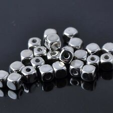 Lot 20 Perle Cube 4mm Argente Metal perle intercalaire creation bijoux