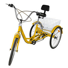 "6-Speed 24"" 3 Wheel Adult Bicycle Tricycle Trike Dreirad Cruise Bike with Basket"