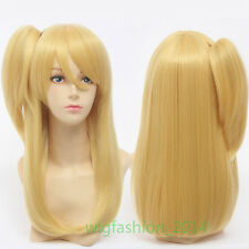 Anime FAIRY TAIL Lucy Heartphilia Golden Cosplay Wigs Clip on Ponytail Wig+Cap