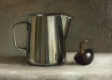 """Petite Original Daily Oil Painting, Alla Prima, Silver Cup, Realism 5"""" x 7"""""""