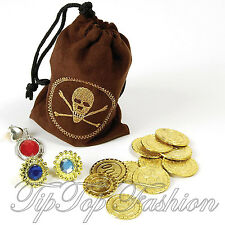 New Pirate Buccaneer Fancy Dress Costume coin money Pouch Jewellery Gems in BAG