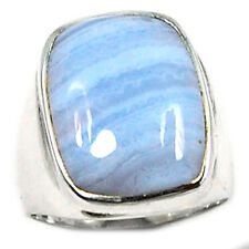 Blue Lace Agate 925 Sterling Silver Ring Jewelry s.8 BLAR305