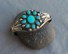 Southwestern Silver Carinated Wires Turquoise Cluster Cuff Bracelet