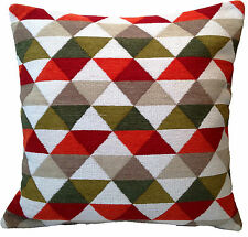 "Moroccan Style Hand Woven Cushion Covers 24"" 60 cm Large Floor Sofa Cream Red"