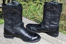 JUSTIN BLACK LEATHER URBAN ROPER COWBOY BOOTS 9.5 D