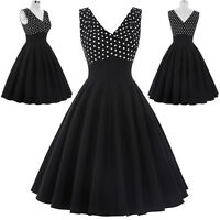 Ladies 40's 50's Vintage Style Polka Dot Retro Swing Pin up Evening Party Dress