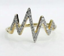 Pave Diamonds Split Orbit Heartbeat Fashion Right Hand Ring Yellow Gold Band