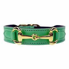 NWT Hartman & Rose Gucci Pet Cat Dog Belmont Leather Collar 22k Gold Sz: S 8-0""