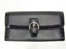 New with tag Coach Black Soho Leather Buckle Slim Envelope Clutch Wallet F47978