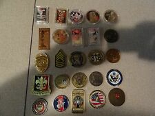 CHALLENGE COIN LOT SET OF 25 DIFFERENT 82ND AIRBORNE NAVY GOLDEN KNIGHTS GENERAL