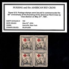 1931 - NURSING - RED CROSS  Mint NH, Block of Four Vintage U.S. Postage Stamps