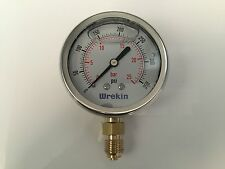 Hydraulic Pressure Gauge 63mm Bottom Entry 0-350 PSI 25 Bar Stainless GB6325/04