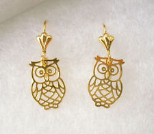 "18KGF GOLD Tibet Style abstract Lightweight OWL Design Dangle EARRINGS 1.25"" L"