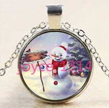 Christmas snowman Cabochon Tibetan silver Glass Chain Pendant Necklace #2809