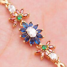 Wholesale Pretty Gold Filled Multi-Color Cubic Zircon Women's Bracelets 18.5cm