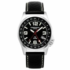 New Torgoen T5 T05101 Mens Chronograph GMT Analog Pilot Watch Blk Leather Strap