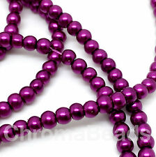 3mm Glass Faux Pearls strand - Plum (230+ beads) jewellery making, purple
