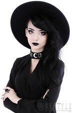 "Black Gothic Hat ""WITCH"" Wide brim hat, stiff, nugoth headdress"