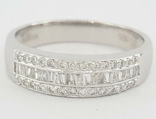 0.75 ct Vintage LeVian 18K White Gold Round & Baguette Diamond Wedding Band Ring